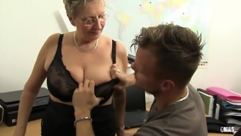XXX OMAS - Filthy Germany granny can take lift at the office