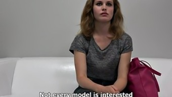 Timid curly blonde teases with the body on casting