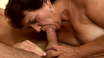 Terrible horrible old bitch gets her senior clit fucked from behind on mattress