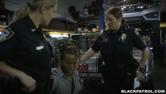 Immodest and attractive police officers fuck striking technician in threesome
