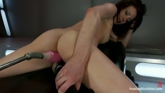 Aiden Ashley gets packed by mock-up fucking machinery
