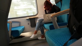 adorable woman in disturbed jeans