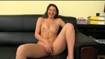 Playful brunette love poses open and amusement rides a penis on a spreading