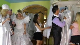 Notably naughty future bride succumbs to intense fucking for the getting dressed space with her marriage event morning