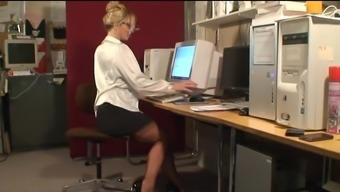 Beautiful Stock Joking MILF in Occupied Business office