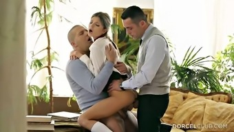 Dual pepping up her wet youngster fuck openings in a threesome
