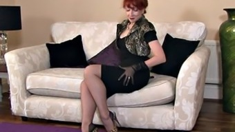 Blond Mother Along with Stockings In Alone Behavior