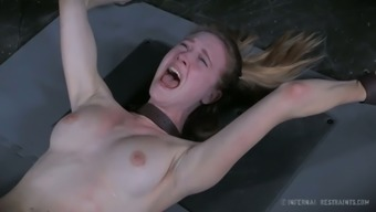 Crucified awkward GF Ashley Street gets her tense pussy pleasured along with toy how challenging