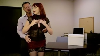 Beautiful dry haired desk Amber Ivy aids her person-in-charge to get rid of stress