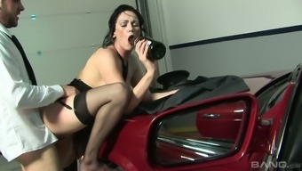 Harlot wife is betraying on the husband using his driver