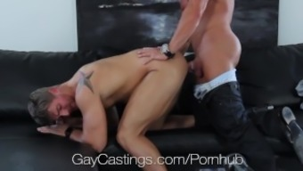 HD GayCastings - Strong texas lad fucked on casting sofa