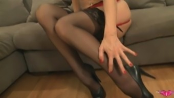 Tanya Tate Plays With Pussy in Stockings & Lingerie
