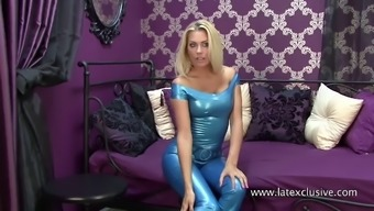 Natasha: blue latex top &amp trousers