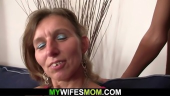 Wife watches her small tits mother rides his cock